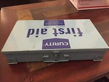 CURITY Vintage METAL FIRST AID BOX W/ CONTENTS INDUSTRIAL Retro Blue IL