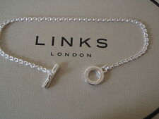 GENUINE LINKS OF LONDON Sterling Silver Tbar Pendant Chain Bracelet 18cm BNIB