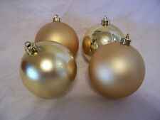 4 GOLD SHINY & MATTE SHATTER RESISTENT 3 INCH CHRISTMAS ORNAMENT DECORATION