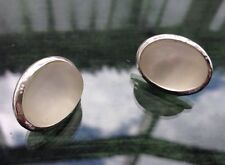 Vintage 80s Silver Tone Oval Clear Frosted Glass Cabochon Clip On Earrings