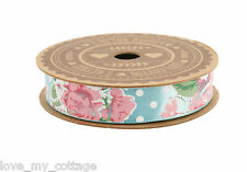 Shabby Chic Vintage Blue Floral Rose Polka Dot Satin Ribbon Wedding Gift Wrap 5M