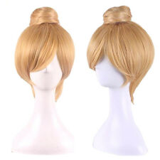 Anime Princess Bun Blonde Synthetic Hair Straight Short Cosplay Tinker Bell Wig