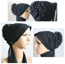 New Turban Rose Flower Hijab Instant Scarf Cap Bonnet Chemo Hat Black