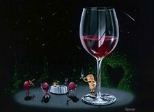 "**Michael Godard-""GETTING LUCKY""-Red Wine-Fun-Romantic-French-Bar-Art*G Edition"