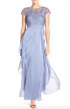 Adrianna Papell Layered Chiffon & Lace Gown Dress Steel Blue sz 10 CAP SLEEVE