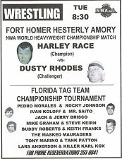 "HARLEY RACE vs DUSTY RHODES 11""X14"" POSTER 1977 -FLORIDA CHAMPIONSHIP WRESTLING"