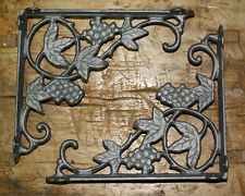 2 Cast Iron Antique Style GRAPES & VINE Brackets, Garden Braces Shelf Bracket