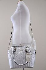 Authentic NWT GUESS Malena Turnlock Satchel  with Style # SG622105 - Silver
