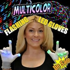 HALLOWEEN Flashing White LED Gloves Party Rave Flashing FUN! SALE!