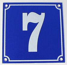 """Aluminium Hausnummer """"7"""" 10x10cm blau Hausnummernschild sofort lieferbar Schild"""