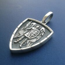 Saint ST. MICHAEL ARCHANGEL CROSS SHIELD PRAYER MEDAL SILVER PENDANT NECKLACE