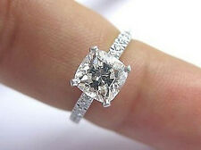 Natural 1.35 Ct Cushion Cut Diamond Solitaire Engagement Ring G,VS1 GIA 18K WG