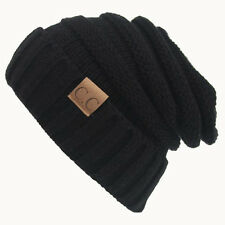 Fashion Womens Mens Black Beanie Cap Warm Ski Hat Ball Knit Crochet Unisex New