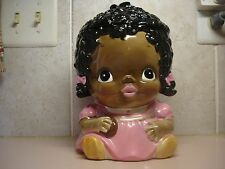 Black Americana Little Girl Cookie Jar Pink Dress Ca. 1978 Made for Sears, Japan
