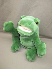 """Russ Berrie CROAKER 12"""" Green Plush Frog CROAKING HAND PUPPET Tested & Working"""