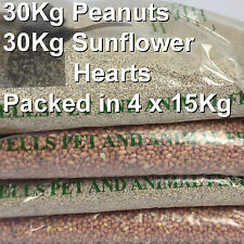 60KG TOTAL of 30KG SUNFLOWER HEARTS and 30KG PEANUTS Wild Bird Food Seed Deal