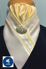 HHD WHITE SATIN SHOW HORSE STOCK TIE, Yellow Piping & Chain Embroidery-Free Pin