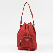 Prada Red Nylon Zip Pocket Top Strap Mini Drawstring Bucket Bag