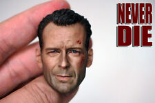 """Never Die 1/6 Head Model Bruce Willis Carving Wounded For 12"""" Action Figure"""