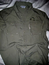 COLUMBIA PFG ARMY GREEN EMBROIDERED LOGO FISHING VENTED COTTON SHIRT-NICE- M/L