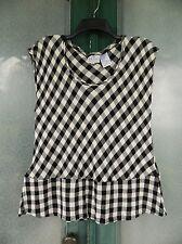 Masai Clothing Co Sleeveless Peplum Tank -L- Black & Ivory Check Cotton Blend