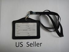 ID Card Holder Horizonal strap Lanyard Genuine Leather for Retractable Badge USA