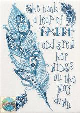 Cross Stitch Mini Kit ~ Plaid-Bucilla Inspirational Leap of Faith Saying #46045