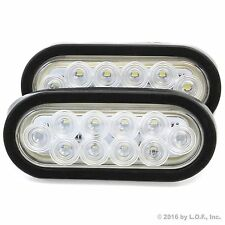 "(2) 6"" Oval Clear/White LED Reverse Back Up Light Surface Mount Trailer Truck"