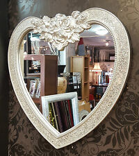 Heart Crackle Design Wall Mirror Bevelled Edge Silver Frame Mosaic Glass 87x85cm