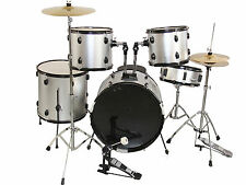 NEW SILVER COMPLETE 5 PIECE ADULT DRUM SET CYMBALS FULL SIZE