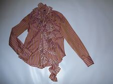 GREAT Women's Shirt Size 10 Made in ITALY ETRO Striped With Scarf EXCELLENT