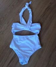 Asos White Halter Bandeau Wrap Cut Out Swimsuit Sz 12 Bnwot