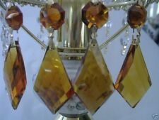 "3"" AMBER CRYSTAL GLASS LAMP CHANDELIER KITE PRISM 14PCS"