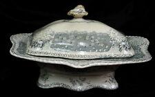 """RARE vintage Doulton Burslem 12"""" soup tureen english pottery Oriel transferware"""