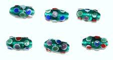 lot de 6 perles anciennes en pâte de verre Murano Venise