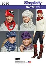SIMPLICITY SEWING PATTERN MISSES' KNIT COLD WEATHER ACCESSORIES HATS SCARF 8036