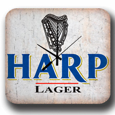 Harp Lager Beer VINTAGE PUB BAR METAL ADVERTISING TIN SIGN WALL CLOCK
