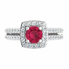 Round Cut 1.55 Ct Natural Diamond Real Ruby Ring 14K White Gold Gemstone Rings