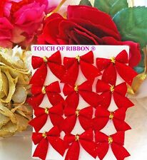 21 Christmas bows miniature ribbons red gold crafts cards wreaths scrapbook trim