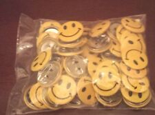 48 Metal Yellow Smiley Face Mini Buttons Pin Back EMOJI Giveaways Party Favors