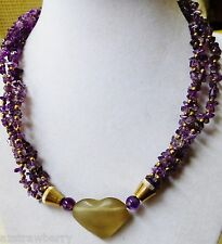 Genuine Amethyst Multi strand frosted glass Heart pendant gold tone necklace 17""