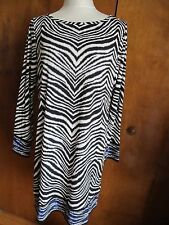 NWT Michael Kors women's printed black/white boat neck jersey shift dress Xlarge