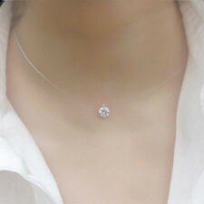 Transparent Fishing Line Clavicle Necklace Zircon Pendant Collar Elegant Jewelry