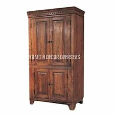 KraftNDecor Wooden Almira/Wardrobe/Cabinet In Brown Colour