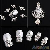 10Pcs 3D Silver Crown Crystal Rhinestone  Nail Art Glitters Diy Decoration BG6U