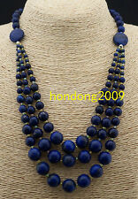Natural 3 rows blue Lazuli Lapis Gem Round Beads necklace 19inch  long