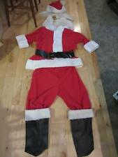 SANTAS BEST SANTA CLAUS SUIT BEARD HAIR BLACK CHAPS BELT MENS M LADIES L