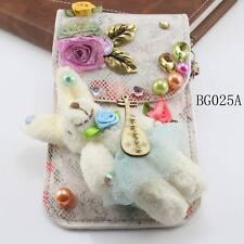 vintage alloy leaf flower crystal rabbit charm bead PU leather phone bag pouch