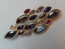 Swarovski Swan Logo Gold Tone Marquise Shaped Multi-Color Crystal Brooch Retired