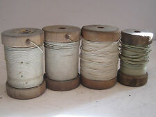 Vtg Double COTTON Cloth Covered WIRE  Wood SPOOL Radio Coil Magnet mix lot